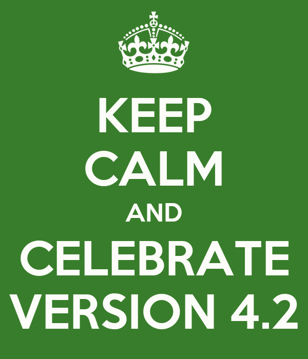 KEEP CALM AND CELEBRATE VERSION 4.2