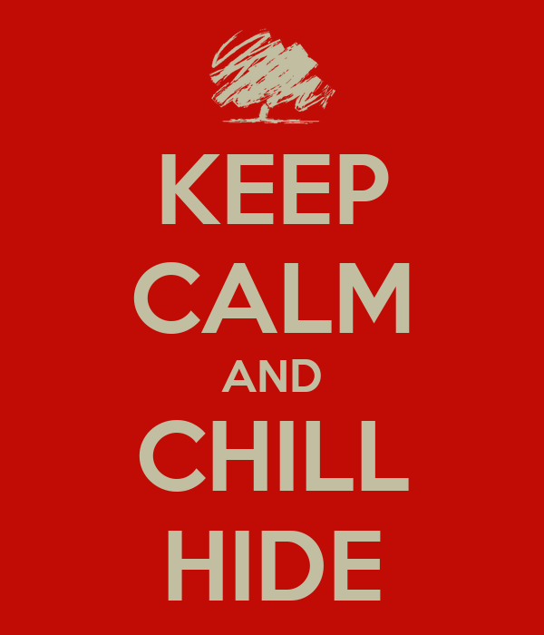 KEEP CALM AND CHILL HIDE