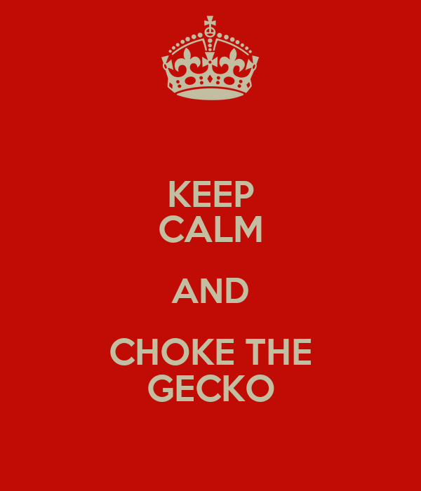 KEEP CALM AND CHOKE THE GECKO