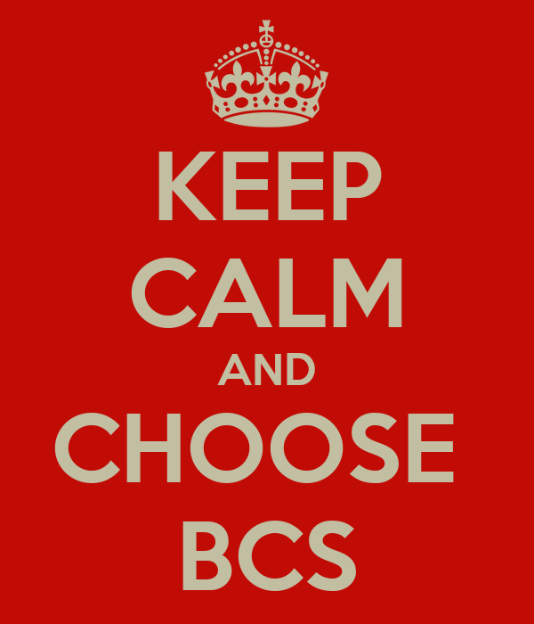 KEEP CALM AND CHOOSE  BCS