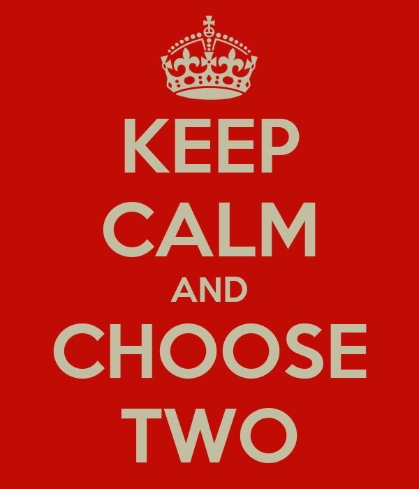 KEEP CALM AND CHOOSE TWO