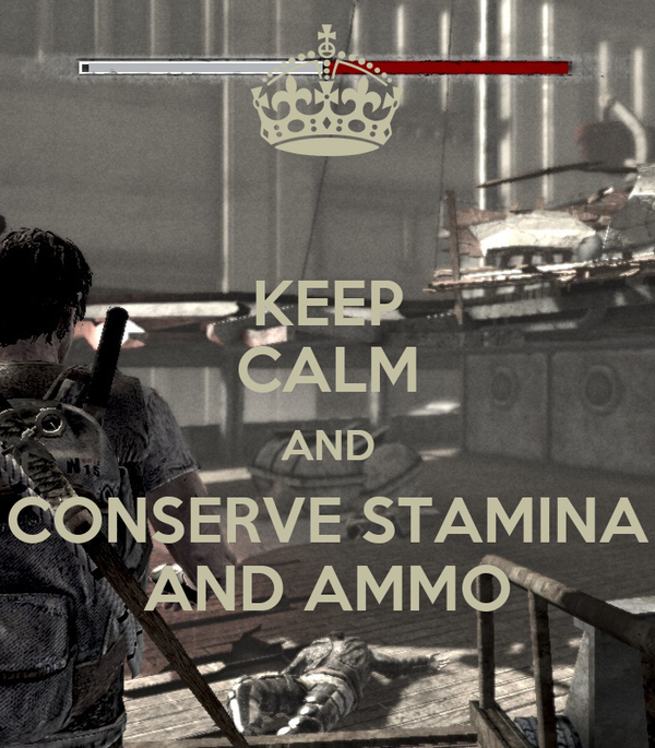 KEEP CALM AND CONSERVE STAMINA AND AMMO