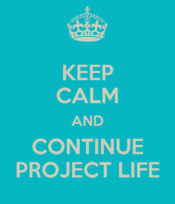 KEEP CALM AND CONTINUE PROJECT LIFE