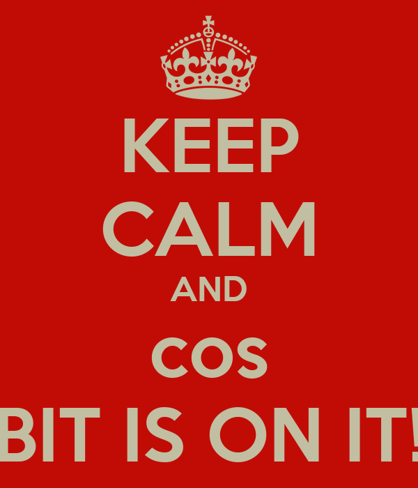 KEEP CALM AND cos BIT IS ON IT!