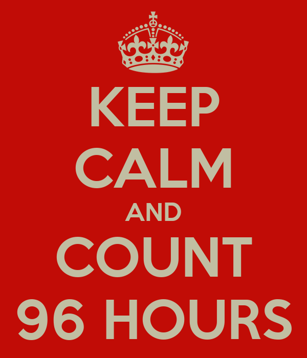 KEEP CALM AND COUNT 96 HOURS