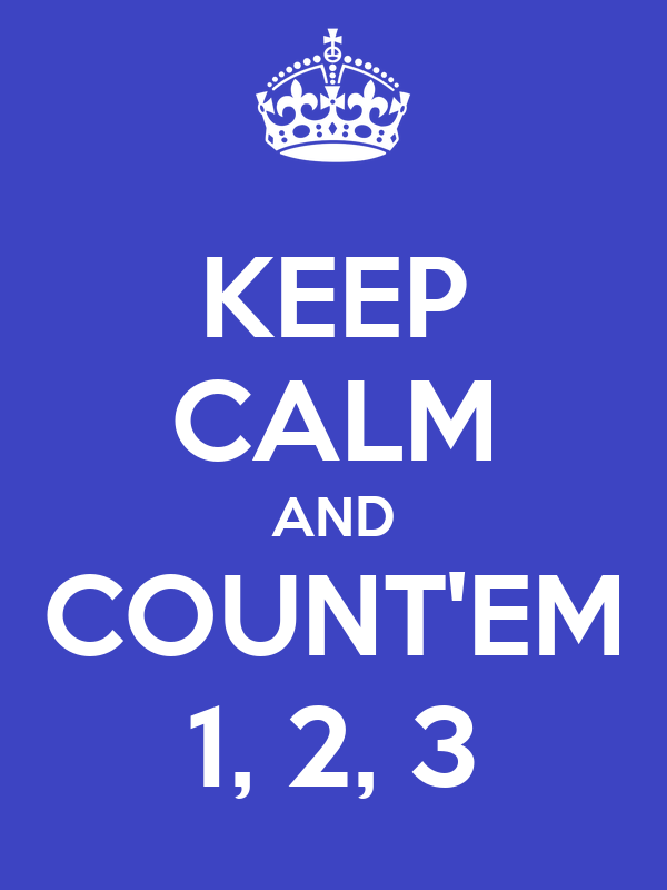 KEEP CALM AND COUNT'EM 1, 2, 3