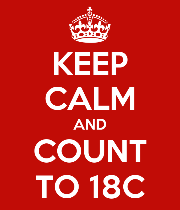 KEEP CALM AND COUNT TO 18C