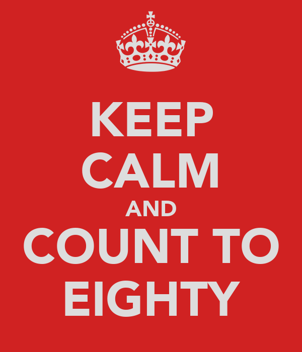 KEEP CALM AND COUNT TO EIGHTY