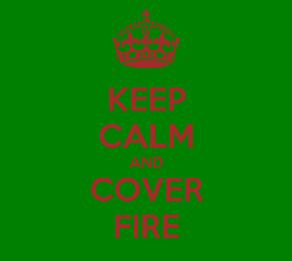 KEEP CALM AND COVER FIRE