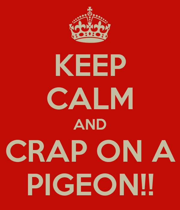 KEEP CALM AND CRAP ON A PIGEON!!