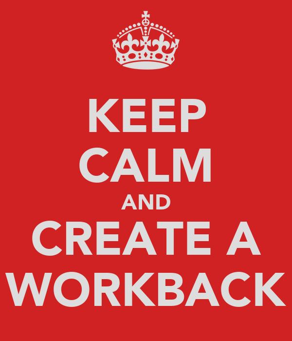 KEEP CALM AND CREATE A WORKBACK