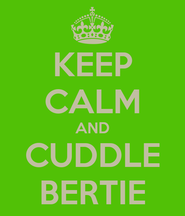 KEEP CALM AND CUDDLE BERTIE