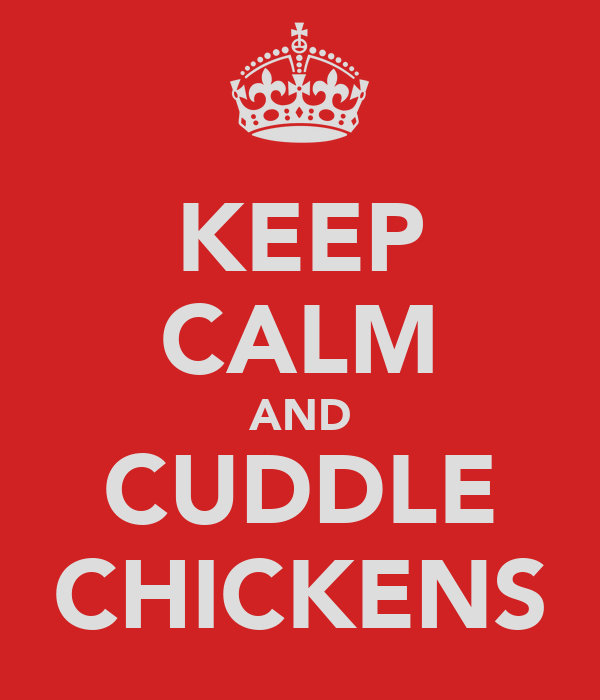 KEEP CALM AND CUDDLE CHICKENS