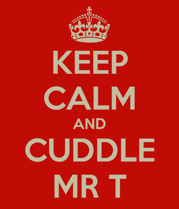KEEP CALM AND CUDDLE MR T