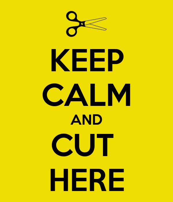 KEEP CALM AND CUT  HERE
