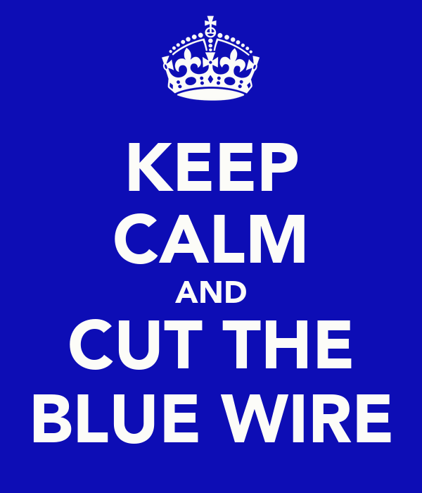 KEEP CALM AND CUT THE BLUE WIRE