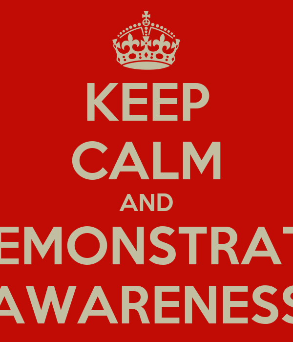 KEEP CALM AND DEMONSTRATE AWARENESS