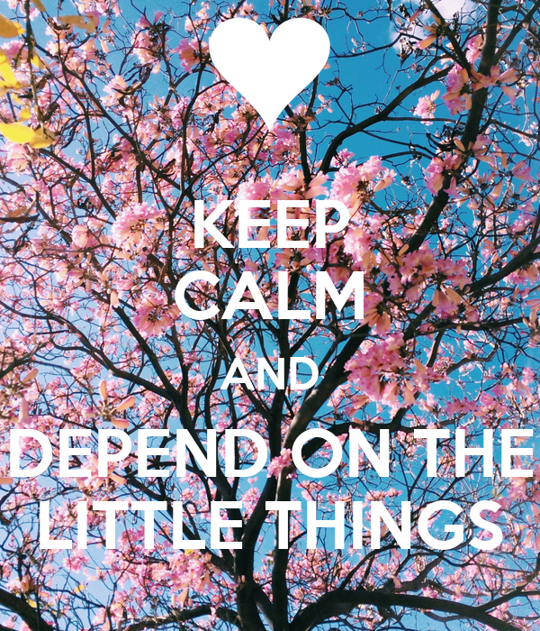 KEEP CALM AND DEPEND ON THE LITTLE THINGS