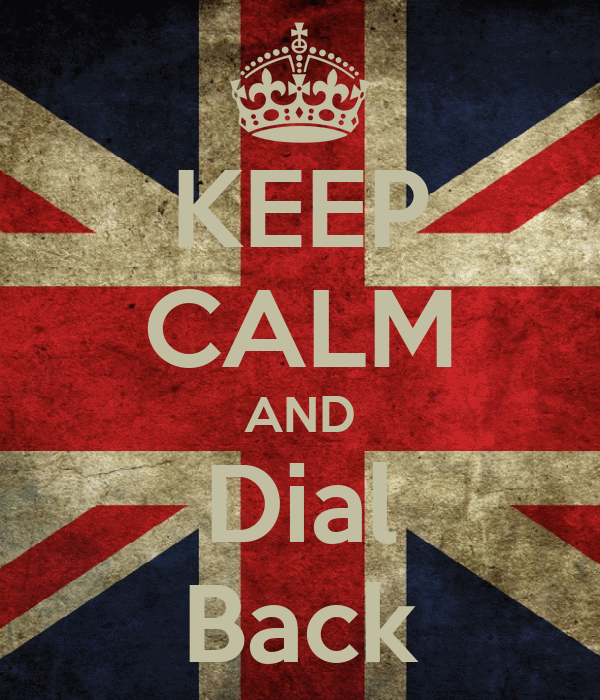 KEEP CALM AND Dial Back
