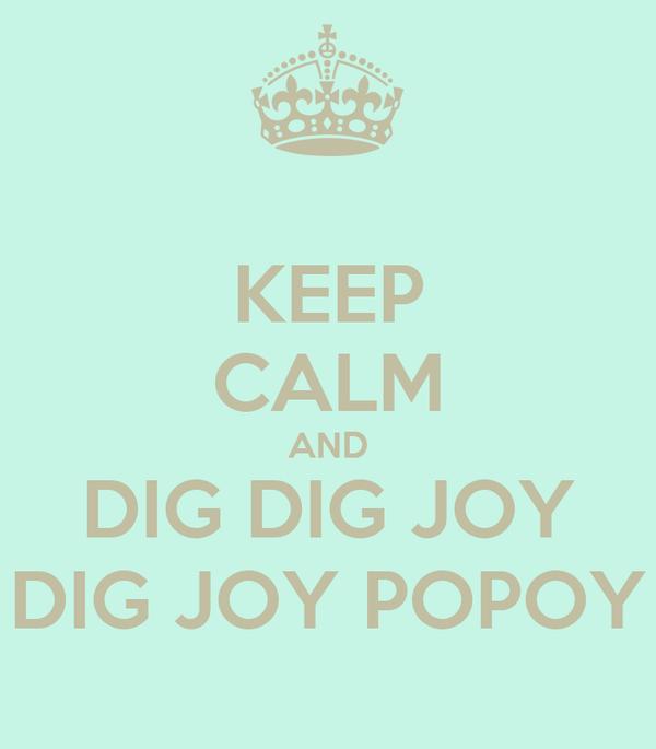 KEEP CALM AND DIG DIG JOY DIG JOY POPOY