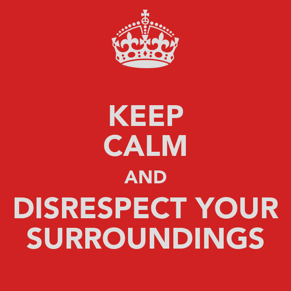 KEEP CALM AND DISRESPECT YOUR SURROUNDINGS