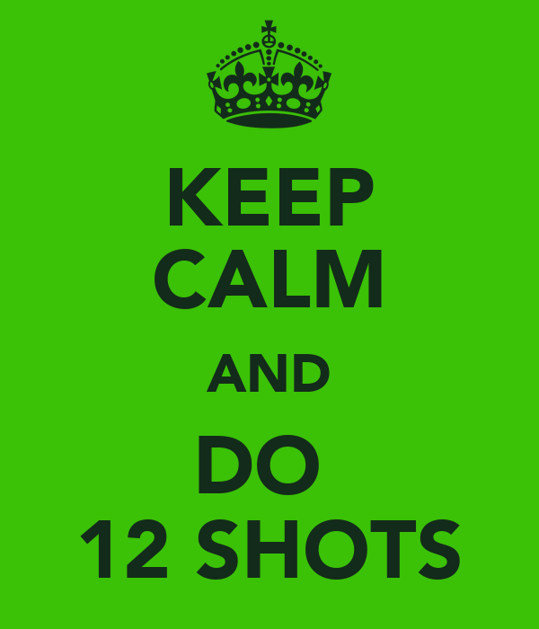 KEEP CALM AND DO  12 SHOTS