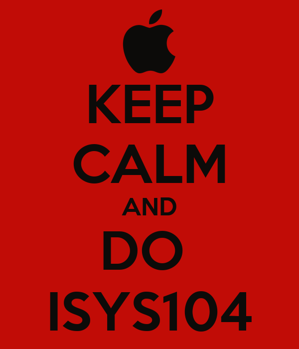 KEEP CALM AND DO  ISYS104
