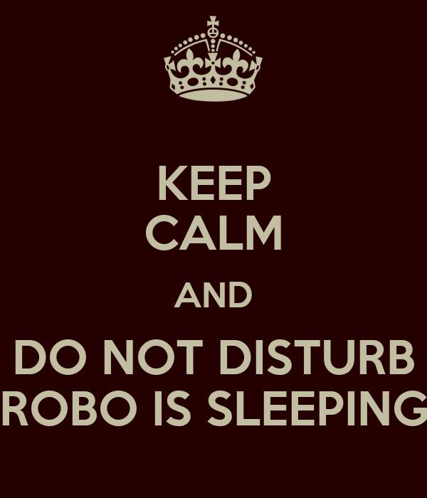 KEEP CALM AND DO NOT DISTURB ROBO IS SLEEPING
