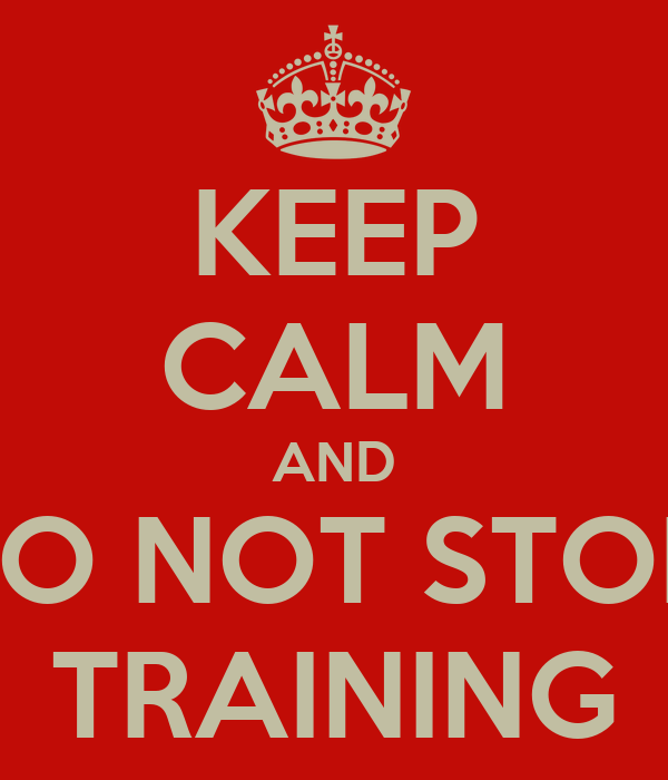 KEEP CALM AND DO NOT STOP  TRAINING