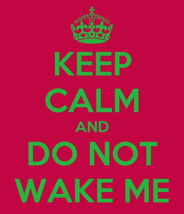 KEEP CALM AND DO NOT WAKE ME