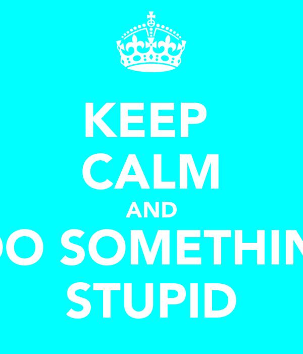 KEEP  CALM AND DO SOMETHIN' STUPID