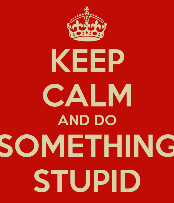 KEEP CALM AND DO SOMETHING STUPID