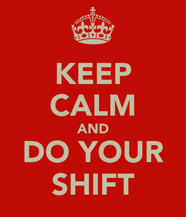 KEEP CALM AND DO YOUR SHIFT