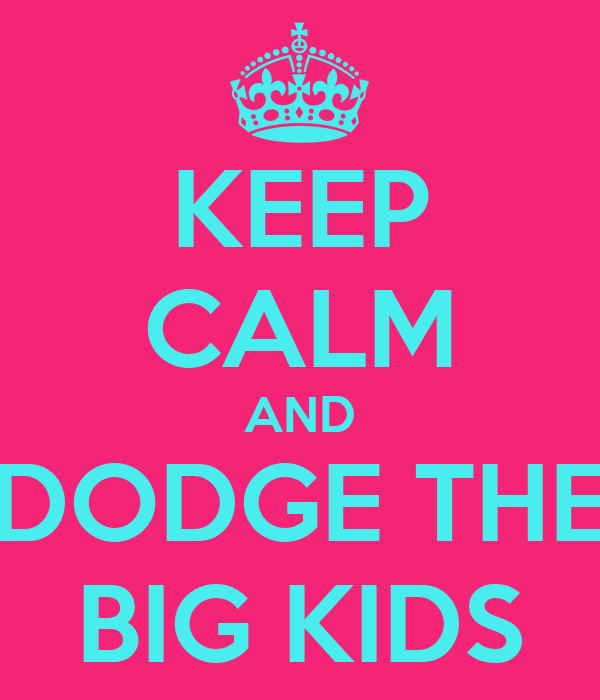 KEEP CALM AND DODGE THE BIG KIDS