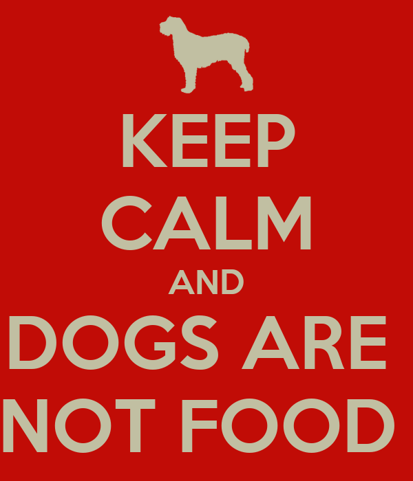 KEEP CALM AND DOGS ARE   NOT FOOD !