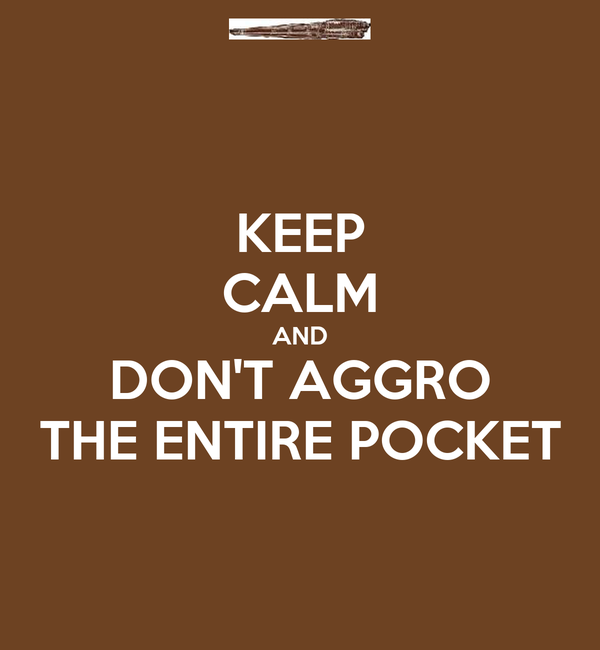 KEEP CALM AND DON'T AGGRO THE ENTIRE POCKET
