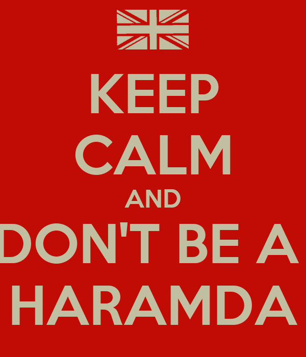 KEEP CALM AND DON'T BE A  HARAMDA