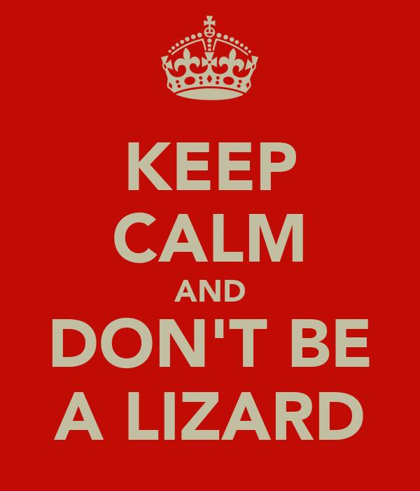 KEEP CALM AND DON'T BE A LIZARD