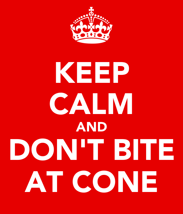 KEEP CALM AND DON'T BITE AT CONE
