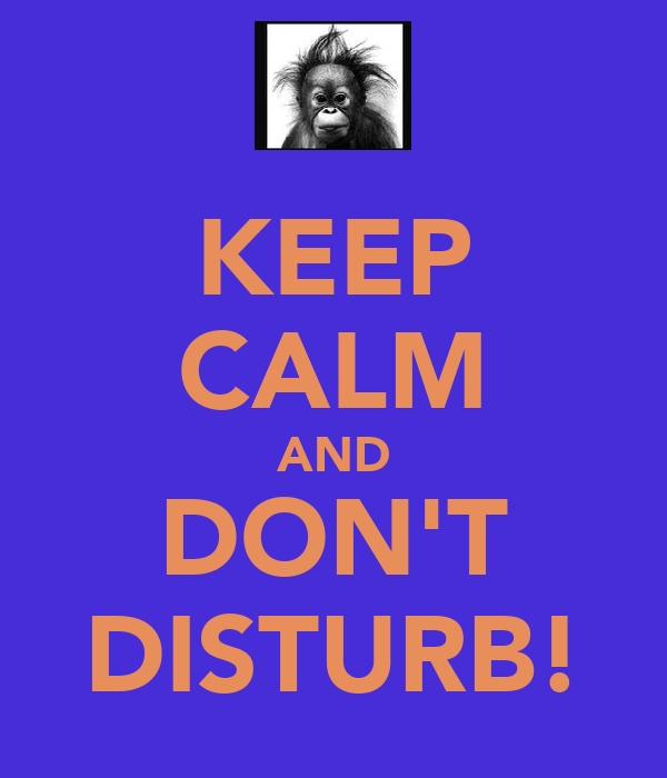 KEEP CALM AND DON'T DISTURB!