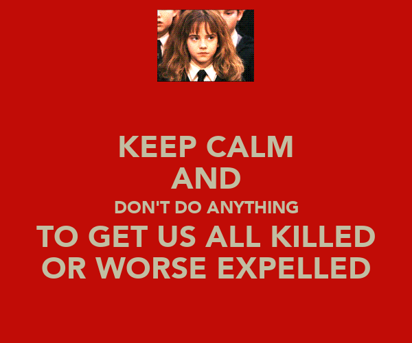 KEEP CALM AND DON'T DO ANYTHING TO GET US ALL KILLED OR WORSE EXPELLED
