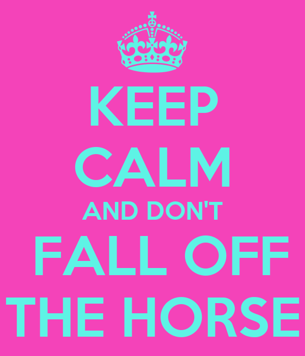 KEEP CALM AND DON'T  FALL OFF THE HORSE