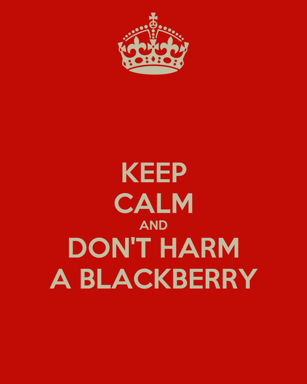 KEEP CALM AND DON'T HARM A BLACKBERRY