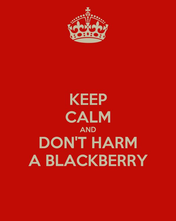 KEEP CALM AND DON'T HARM A BLACKBERRY