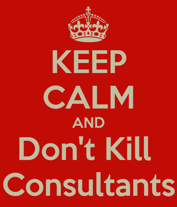 KEEP CALM AND Don't Kill  Consultants