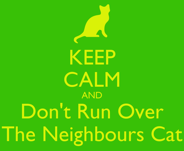 KEEP CALM AND Don't Run Over The Neighbours Cat