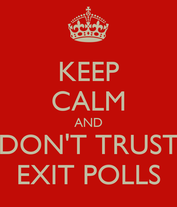 KEEP CALM AND DON'T TRUST EXIT POLLS