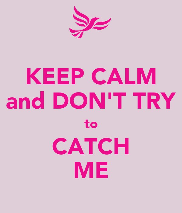 KEEP CALM and DON'T TRY to CATCH ME