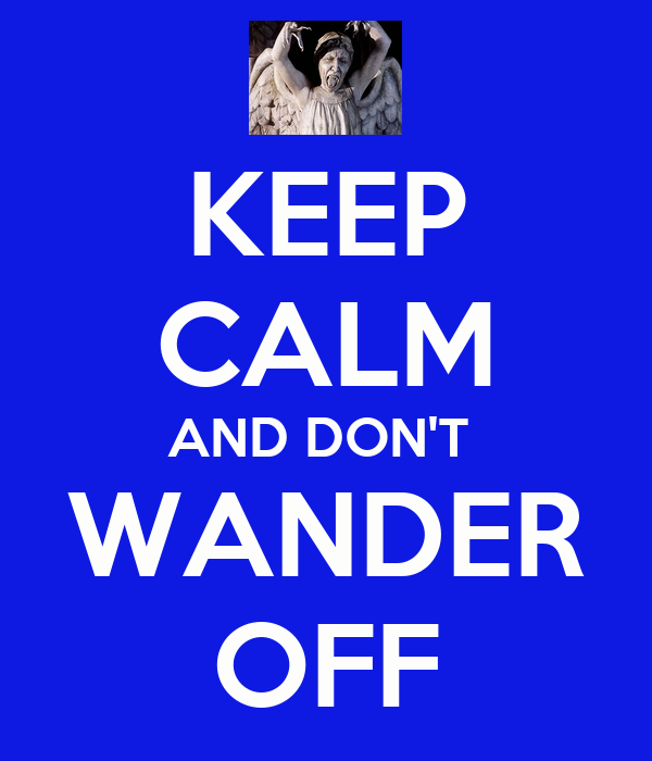 KEEP CALM AND DON'T  WANDER OFF