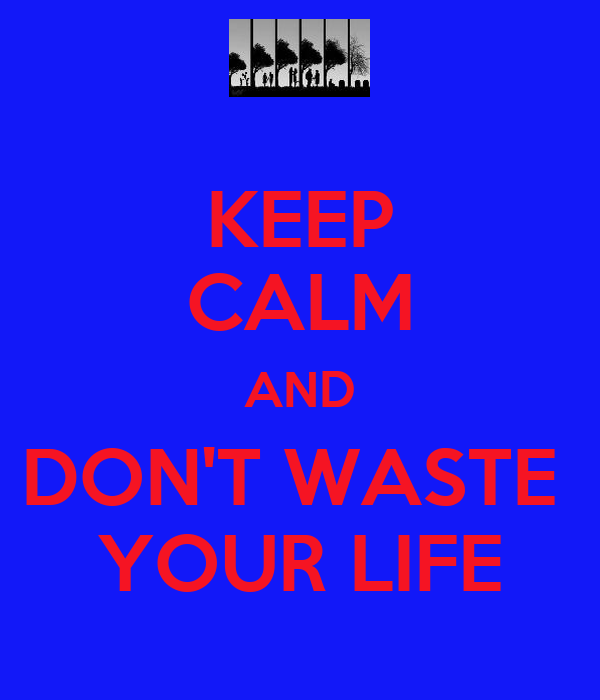 KEEP CALM AND DON'T WASTE  YOUR LIFE